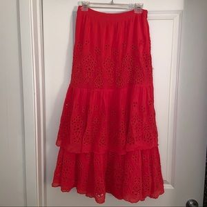 Free People red eyelet layered maxi skirt